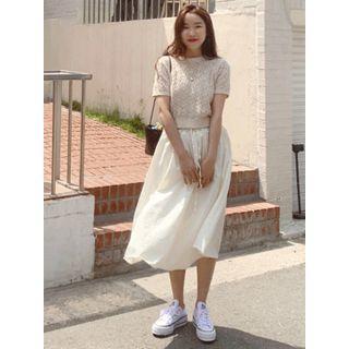 Drawstring-waist Cotton Flare Skirt