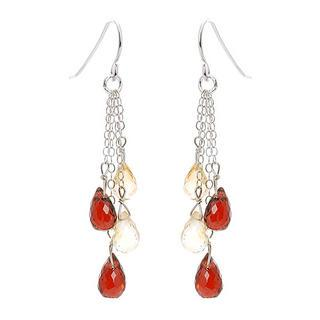 Silver Citrine, Garnet Earrings
