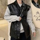 Faux Leather Buttoned Vest Black - One Size