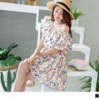 Floral Print Ruffled Smocked Dress