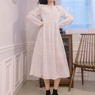 Long-sleeve Dotted Midi Dress White - One Size