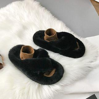 Furry Cross Strap Sandals