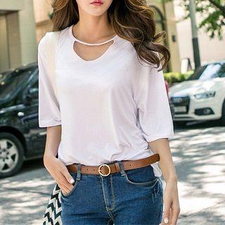 Short-sleeve Cutout T-shirt White - One Size