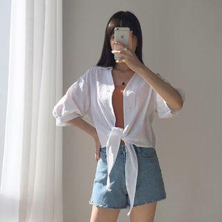 Drop-shoulder Tie-front Shirt