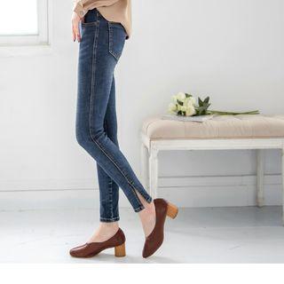 Slit Hem Ripped Skinny Jeans