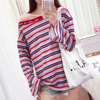 Boatneck Long-sleeve Striped T-shirt