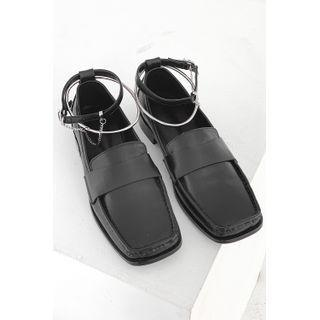 Inset Anklet Square-toe Loafers