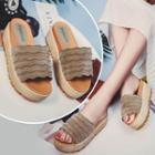 Platform Scallop Trim Slide Sandals