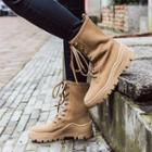Genuine Leather Lace-up Platform Short Boots