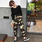 Camo Print Jogger Pants As Shown In Figure - One Size