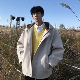 Plain Hooded Woolen Jacket