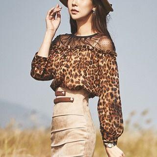 Tulle-shoulder Leopard Print Top