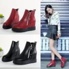 Platform Hidden Wedge Studded Ankle Boots