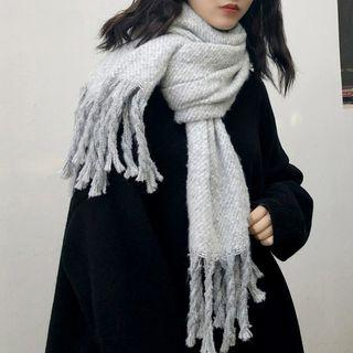 Fringed Scarf Light Gray - One Size