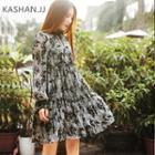 Long-sleeve Printed Frilled Dress