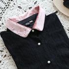 Contrast-trim Lace Shirt