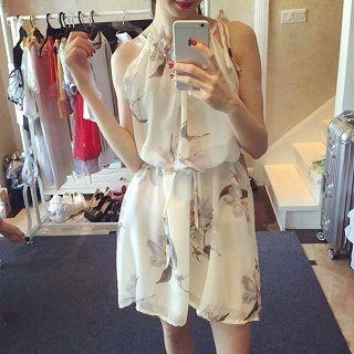 Sleeveless Floral Chiffon Dress White - One Size
