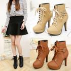 Buckled Faux Leather High-heel Short Boots