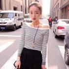 Striped Off-shoulder Knit Top