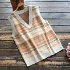 V-neck Jacquard Knit Vest