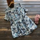 Floral Short-sleeve Top Flower Print - One Size