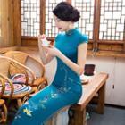Cap-sleeved Flower-print Maxi Qipao