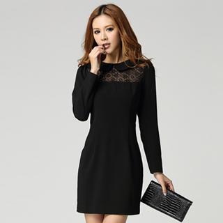 Lace-panel Sheath Dress