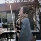 Leopard Pattern Knit Scarf