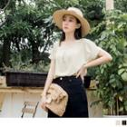 Short-sleeve Shirred Round Neck Chiffon Top