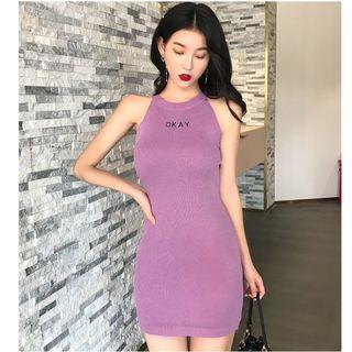 Halter Lettering Mini Sheath Knit Dress