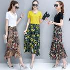 Set: Lattice Short-sleeve T-shirt + Print Midi Skirt