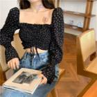 Flower Print Drawstring Blouse Black - One Size