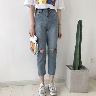 Ripped High Waist Cropped Jeans