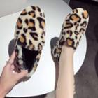 Leopard Print Furry Loafers