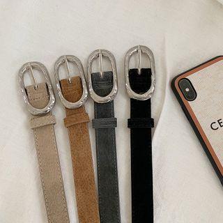 Oblong-buckle Leather Belt