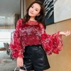 Set: Floral Print Tiered Long-sleeve Chiffon Top + Camisole