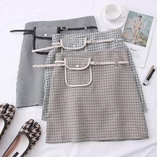 Checker High-waist Mini Skirt With Belt