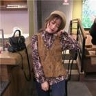 Set: Printed Chiffon Blouse + Lace Sleeveless Top