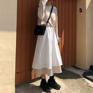 Tiered Midi A-line Skirt White & Almond - One Size