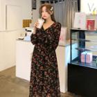 V-neck Floral Chiffon Maxi Dress Black - One Size