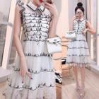 Contrast Trim Sleeveless A-line Mesh Dress