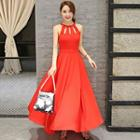 Sleeveless Cutout Plain Maxi Dress