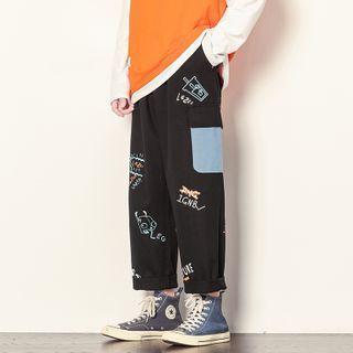 High-waist Printed Color Block Pants