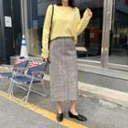 Slit-back Tweed Midi Skirt