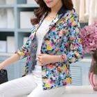 Floral Print 3/4-sleeve Blazer