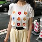 Short-sleeve Flower Embroidered Knit Top