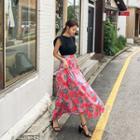A-line Floral Print Long Skirt