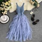 Sleeveless Knit Panel Midi Dress