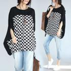 3/4-sleeve Check Loose-fit Top