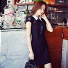 Short-sleeve Lace Collar Panel Dress